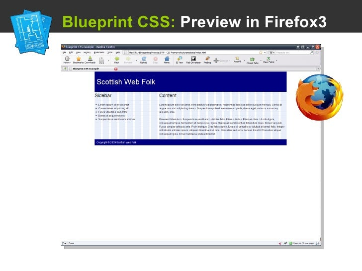 Using a css framework blueprint css preview in firefox3 malvernweather