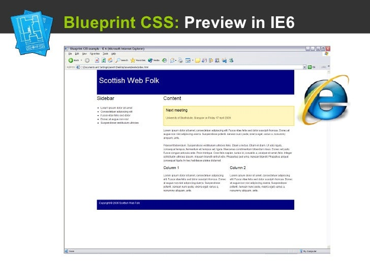 Using a css framework blueprint css preview in ie6 malvernweather Image collections