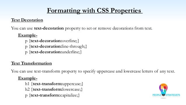 how to give properties in css