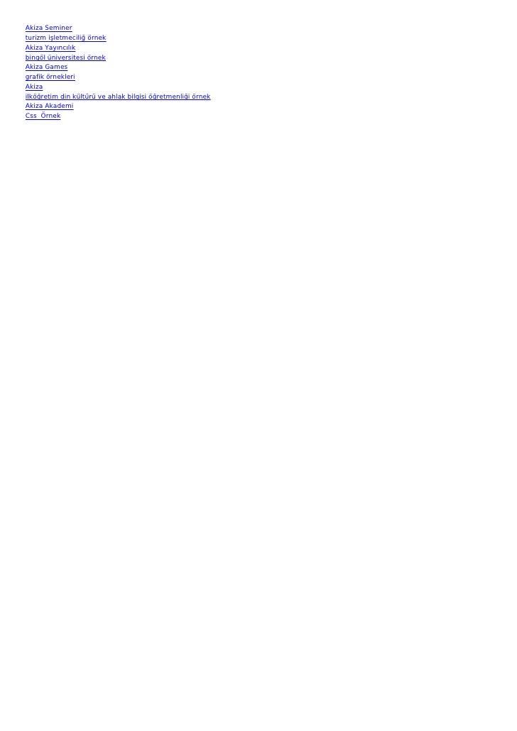 Akiza Seminerturizm işletmeciliğ örnekAkiza Yayıncılıkbingöl üniversitesi örnekAkiza Gamesgrafik örnekleriAkizailköğretim ...