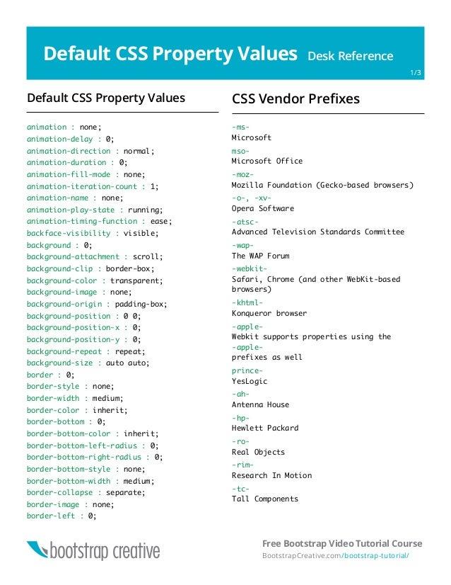 CSS Cheat Sheet Reference PDF