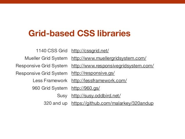 Grid-based CSS libraries 1140 CSS Grid Mueller Grid System Responsive Grid System  Responsive Grid System  Less Framework ...