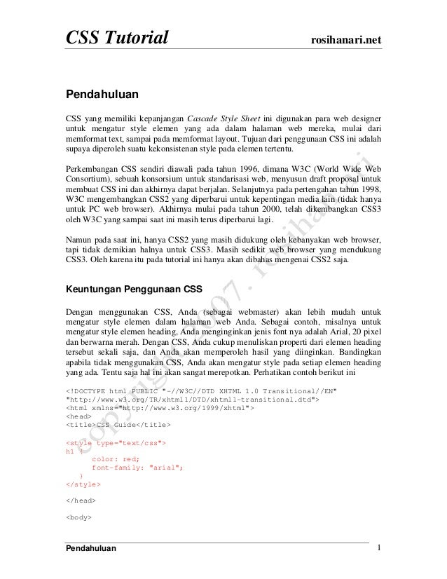 cascade style sheet tutorial pdf