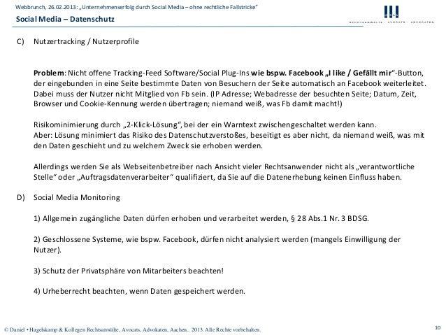 """Webbrunch, 26.02.2013: """"Unternehmenserfolg durch Social Media – ohne rechtliche Fallstricke""""    Social Media – Datenschutz..."""
