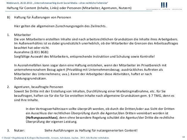 """Webbrunch, 26.02.2013: """"Unternehmenserfolg durch Social Media – ohne rechtliche Fallstricke""""    Haftung für Content (Inhal..."""