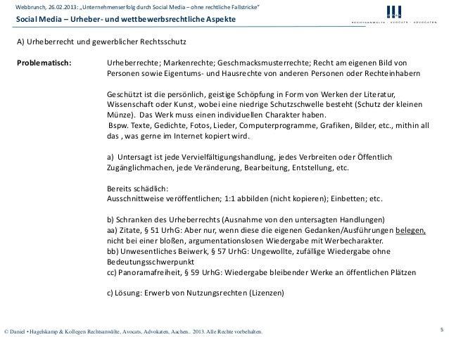 "Webbrunch, 26.02.2013: ""Unternehmenserfolg durch Social Media – ohne rechtliche Fallstricke""    Social Media – Urheber- un..."