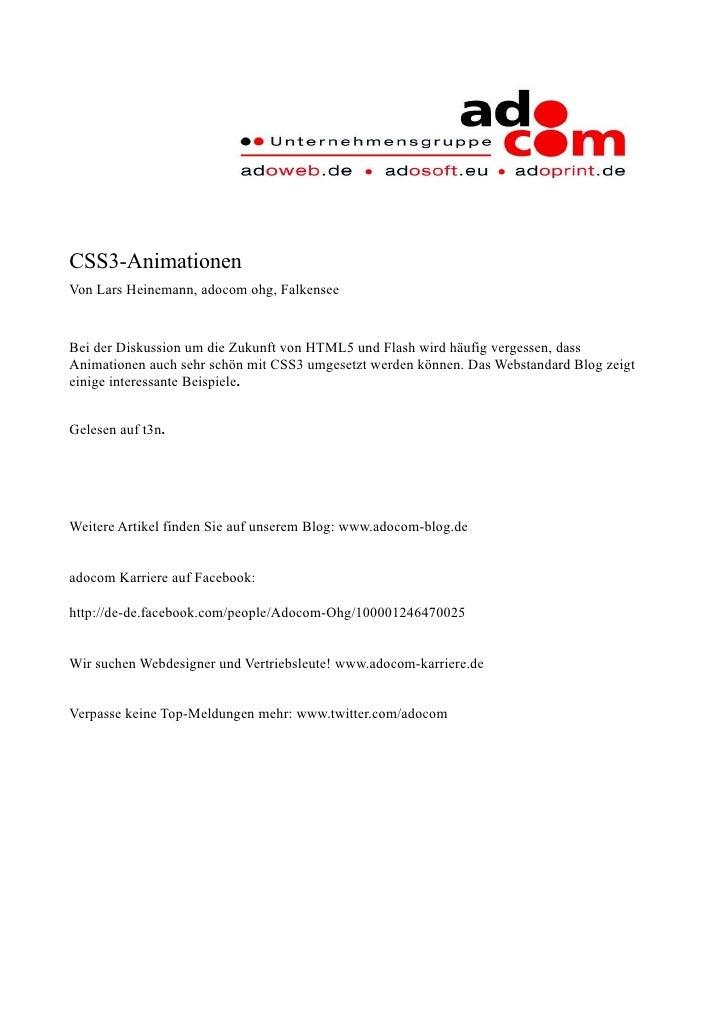 CSS3-Animationen Von Lars Heinemann, adocom ohg, Falkensee   Bei der Diskussion um die Zukunft von HTML5 und Flash wird hä...