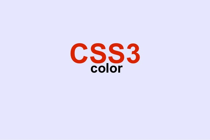 CSS3 color