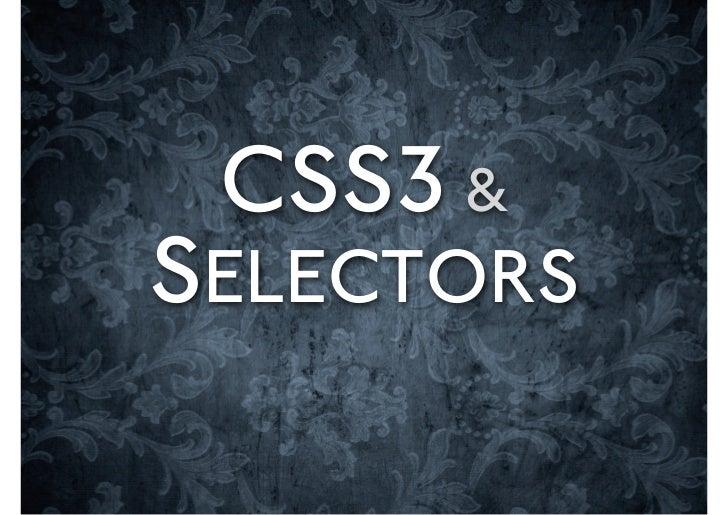 CSS3 &SELECTORS