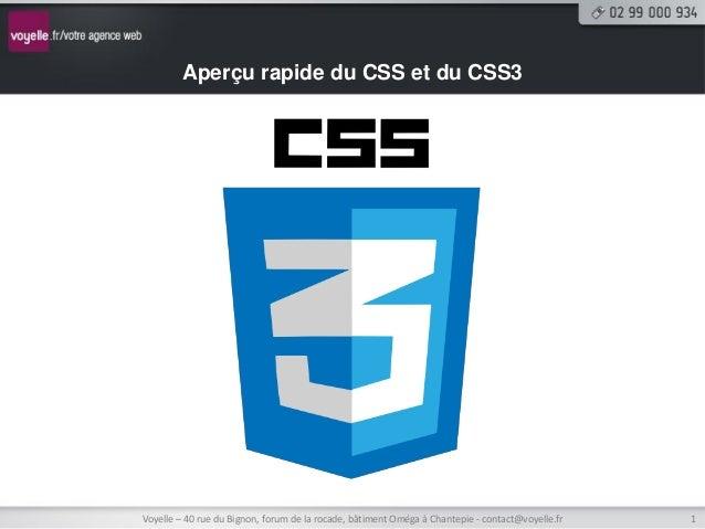 Aperçu rapide du CSS et du CSS3Voyelle – 40 rue du Bignon, forum de la rocade, bâtiment Oméga à Chantepie - contact@voyell...