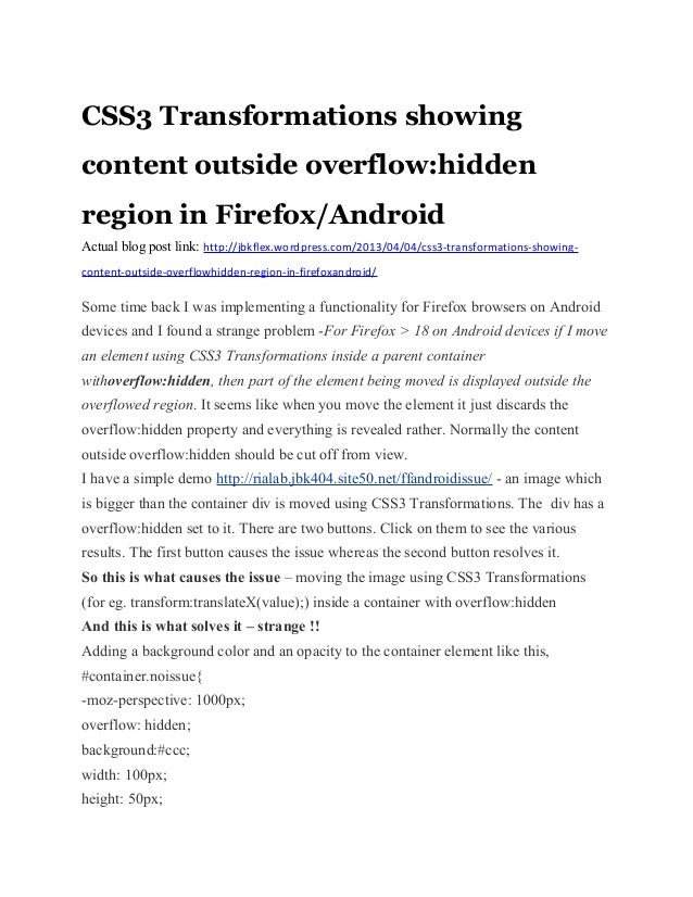 CSS3 Transformations showingcontent outside overflow:hiddenregion in Firefox/AndroidActual blog post link: http://jbkflex....