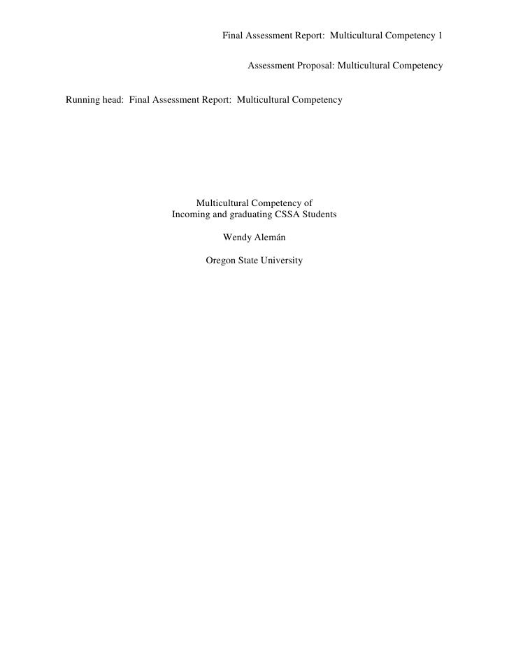 Final Assessment Report: Multicultural Competency 1                                            Assessment Proposal: Multic...