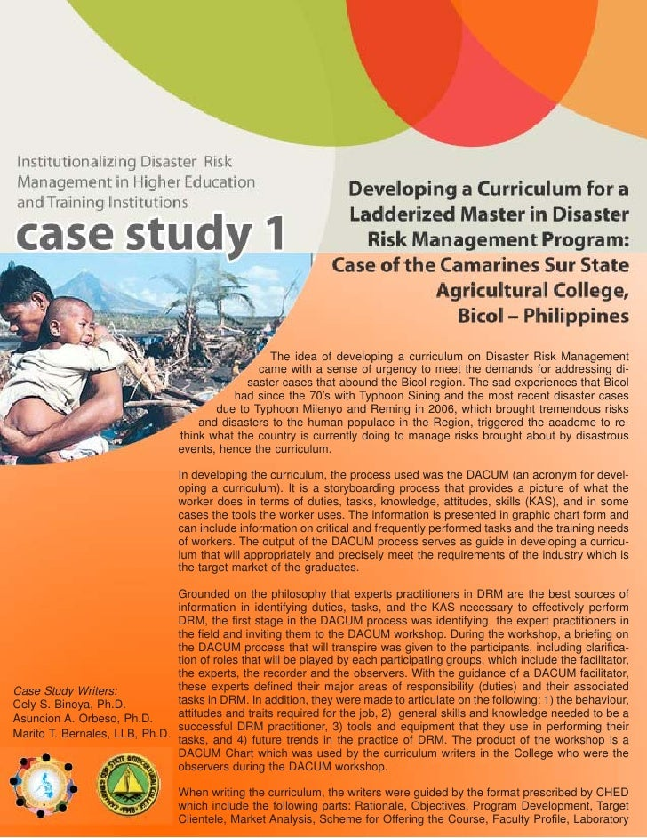 The idea of developing a curriculum on Disaster Risk Management                                                 came with ...