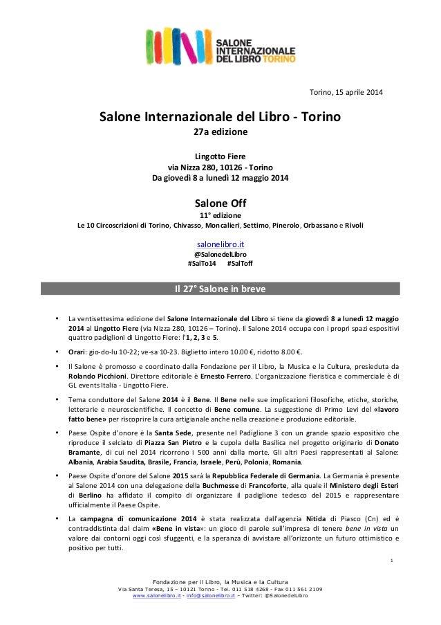 Fondazione per il Libro, la Musica e la Cultura Via Santa Teresa, 15 – 10121 Torino - Tel. 011 518 4268 - Fax 011 561 2109...