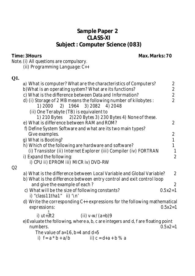 Sample Paper 2 Class Xi (Computer Science)