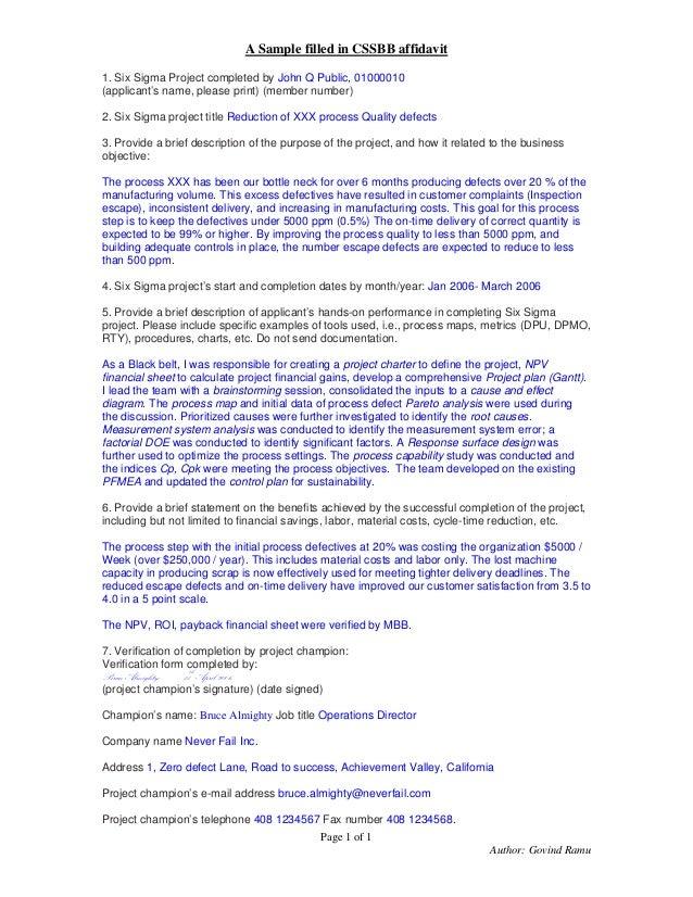 ASQ CSSBB Affidavit Example