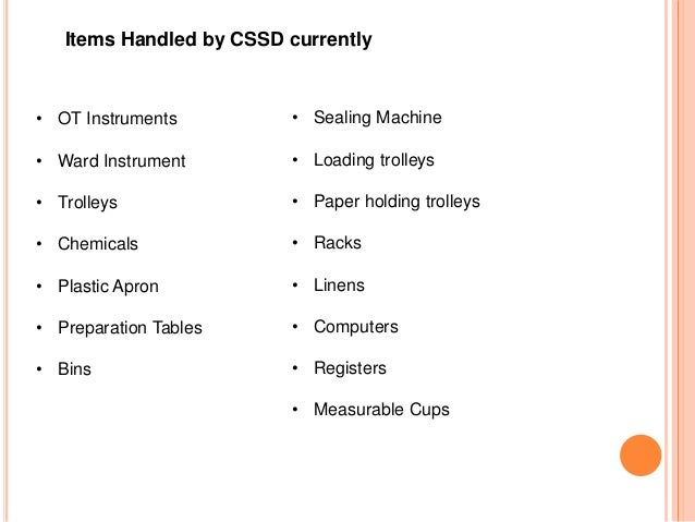 Central Sterile Amp Supply Department Cssd