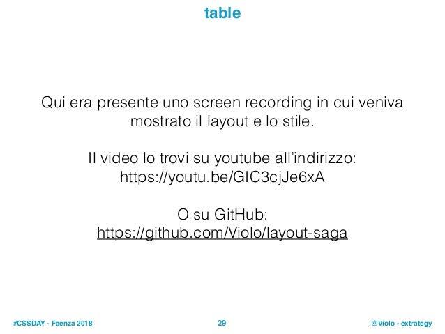 #CSSDAY - Faenza 2018 @Violo - extrategy29 table Qui era presente uno screen recording in cui veniva mostrato il layout e ...