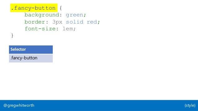 @gregwhitworth {style} Selector Property Value .fancy-button background-color rgb(0,255,0) .fancy-button border-size 3px ....