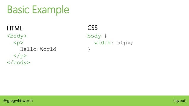 Basic Example Box Tree CSS Box width: 50px @gregwhitworth {layout} <body>