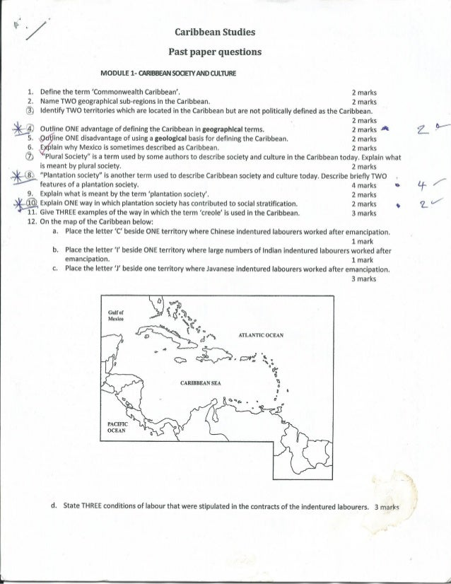 Caribbean studies essay questions and answers