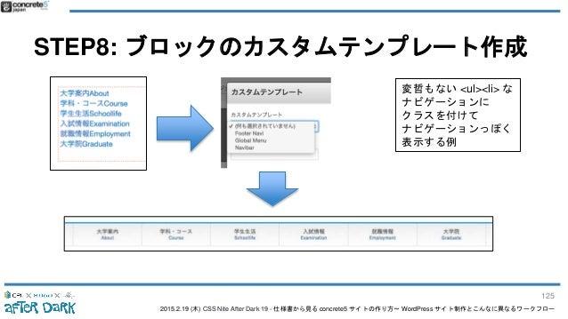 2015.2.19 (木) CSS Nite After Dark 19 - 仕様書から見る concrete5 サイトの作り方〜 WordPress サイト制作とこんなに異なるワークフロー STEP8: ブロックのカスタムテンプレート作成 変...