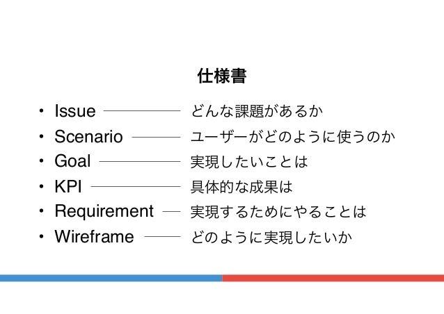 仕様書 • Issue • Scenario • Goal • KPI • Requirement • Wireframe どんな課題があるか ユーザーがどのように使うのか 実現したいことは 具体的な成果は 実現するためにやることは どのように...