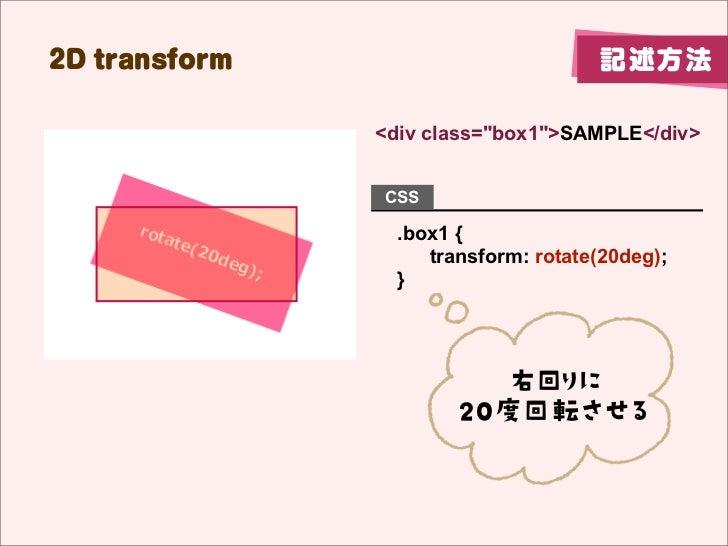 "2D transform                          記述方法               <div class=""box1"">SAMPLE</div>               CSS                 ..."