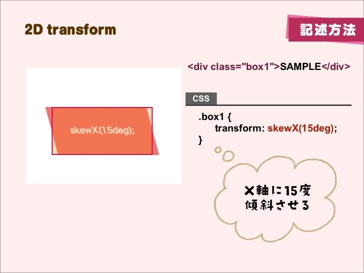 "2D transform                        記述方法               <div class=""box1"">SAMPLE</div>               CSS                 .b..."