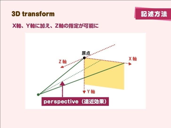 3D transform                記述方法X軸、Y軸に加え、Z軸の指定が可能に        perspective(遠近効果)