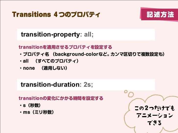 Transitions 4つのプロパティ                記述方法  transition-property: all; transitionを適用させるプロパティを設定する ・プロパティ名 (background-colorなど...