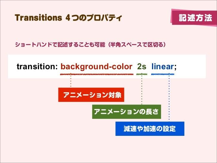 Transitions 4つのプロパティ                      記述方法ショートハンドで記述することも可能(半角スペースで区切る)transition: background-color 2s linear;        ...