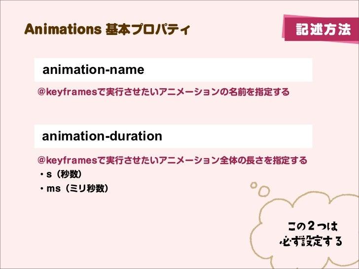 Animations 基本プロパティ                  記述方法 animation-name @keyframesで実行させたいアニメーションの名前を指定する animation-duration @keyframesで実行さ...