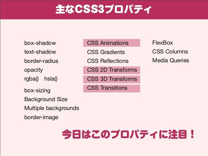 主なCSS3プロパティbox-shadow             CSS Animations      FlexBoxtext-shadow            CSS Gradients       CSS Columnsborder-...