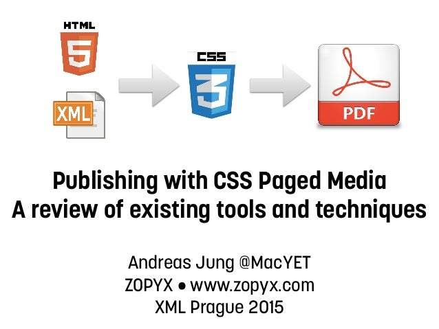 Publishing with CSS Paged Media