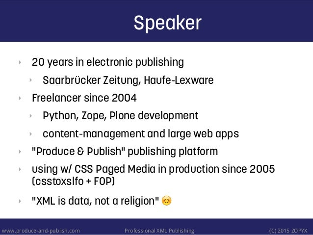 CSS Paged Media - A review of tools and techniques Slide 2