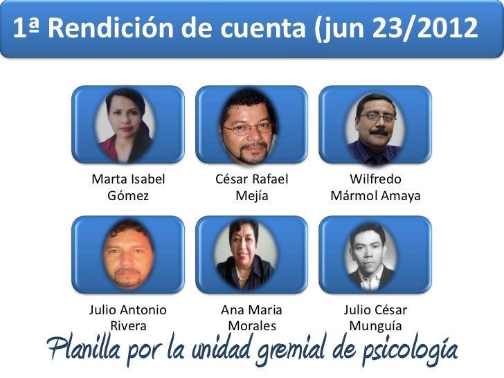 1ª Rendición de cuenta (jun 23/2012      Marta Isabel    César Rafael     Wilfredo        Gómez            Mejía       Már...