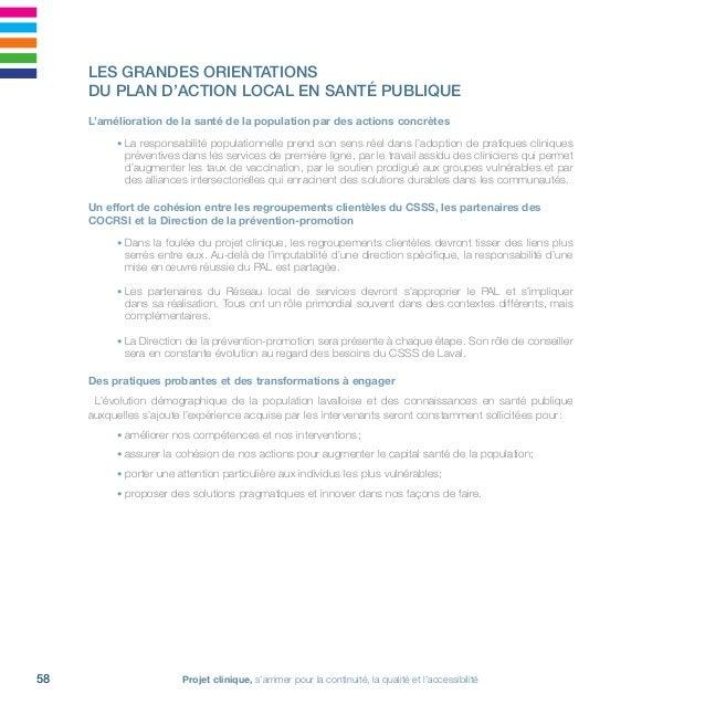 61Réseau local de services de Laval • 2011-2016 Cibles Directions associées 1. L'action auprès de l'ensemble de la popula...