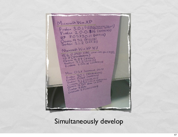 Simultaneously develop                          67