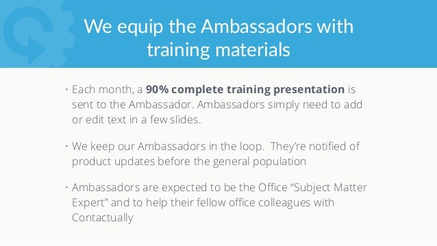 Here's what our first Ambassador  training template looks like
