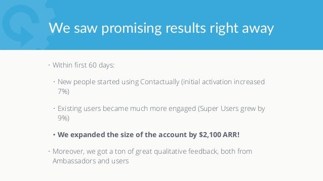 We've since expanded the  Ambassador program • Currently in place at 30% of our enterprise customers • None of our th...
