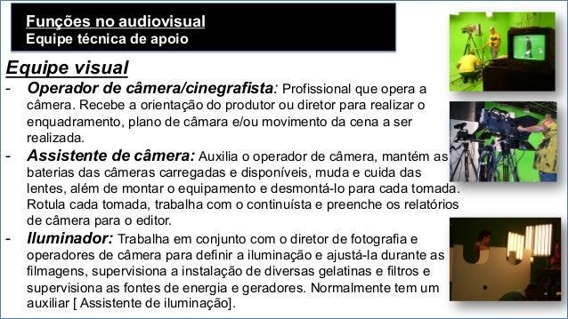 Funções no audiovisual Equipe técnica de apoio Equipe visual - Operador de câmera/cinegrafista: Profissional que opera a ...