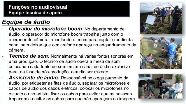 Funções no audiovisual Equipe técnica de apoio Equipe de áudio - Operador do microfone boom: No departamento de áudio, o ...