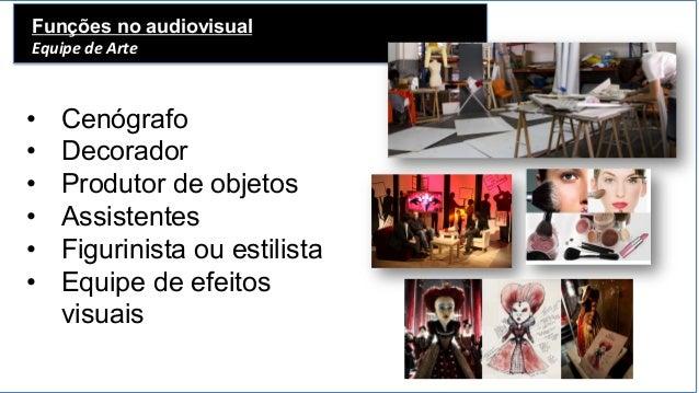 Funções no audiovisual Equipe  de  Arte   • Cenógrafo • Decorador • Produtor de objetos • Assistentes • Figurin...