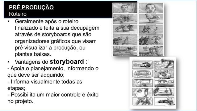 PRÉ PRODUÇÃO Roteiro • Geralmente após o roteiro finalizado é feita a sua decupagem através de storyboards que são organi...