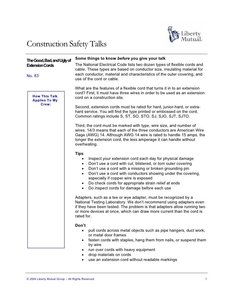 Construction safety talks 83 construction safety talks the good bad and uglyof some things to know before you keyboard keysfo Images