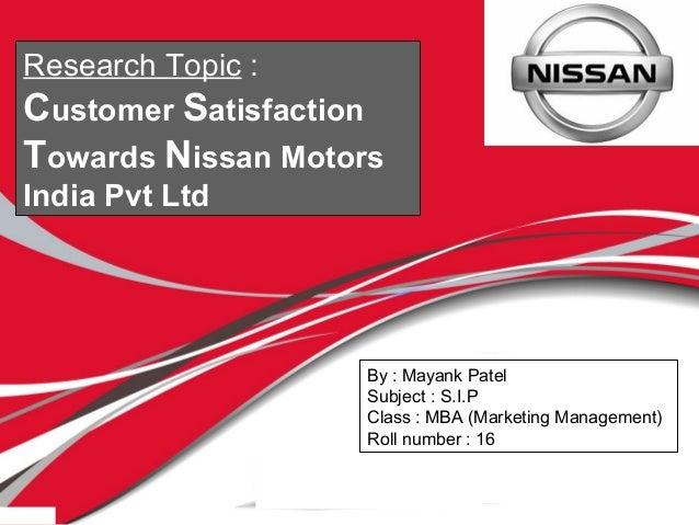 Summer internship project report on nissan for Nissan motors customer service