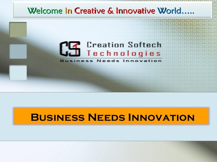 Welcome   In   Creative & Innovative  World…..   Business Needs Innovation