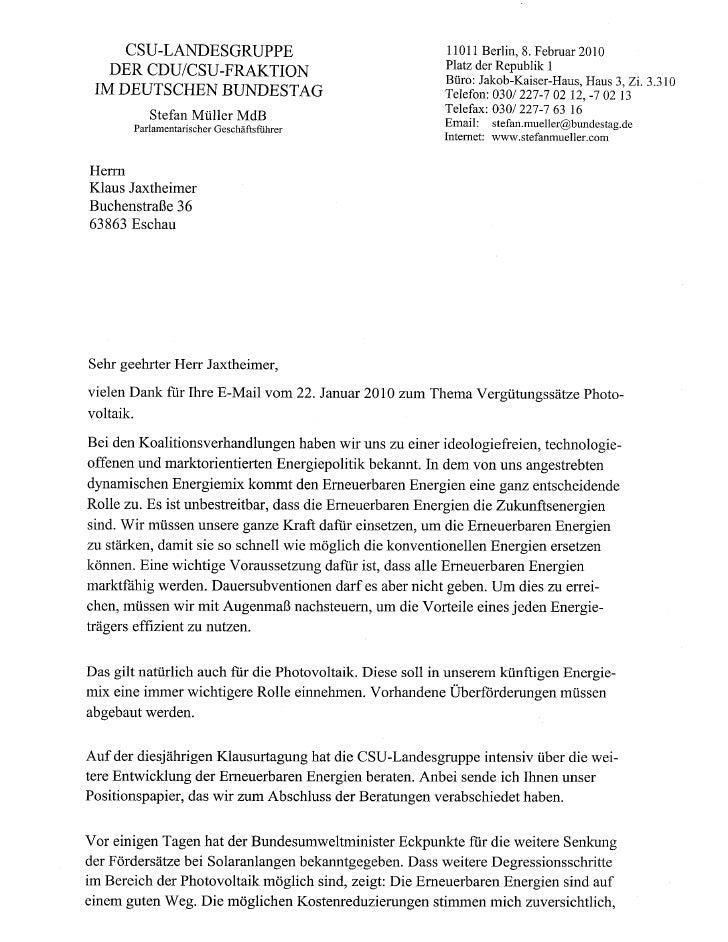 CSU Landesgruppe Bundestag Stellungnahme Solarförderung 08 02 2010