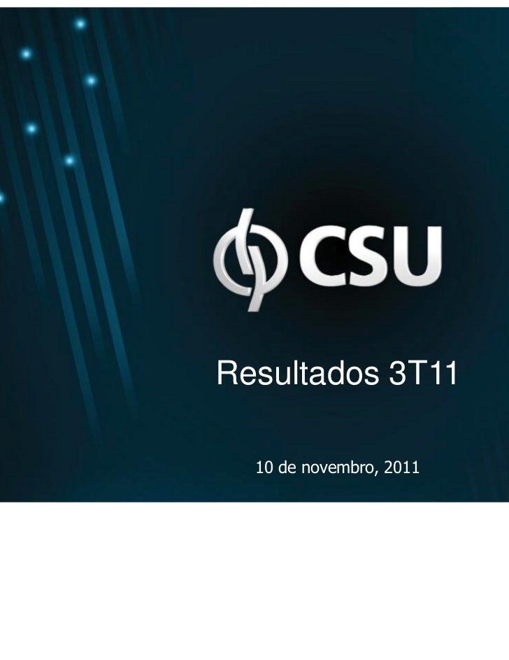Resultados 3T11  10 de novembro, 2011